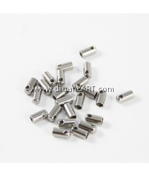 Stainless Steel End Caps, Tube, Original Color, 4x8.5mm, Inner Dia: 3mm, Hole:Approx 2mm, pack/10 pcs