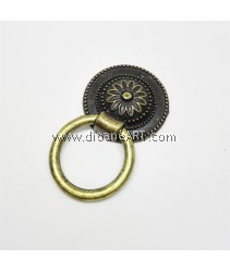 Drawer Flower Carved Pull Ring Knob, 36x60mm, Antique Bronze, 1set/pack