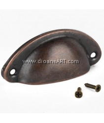 Drawer Handle, Shell Shape, 82x35mm, Antique Copper, 1set/pack