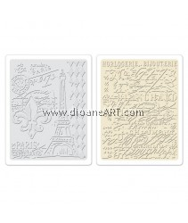 Sizzix Texture Fades Embossing Folders 2PK - Eiffel Tower & French Script Set