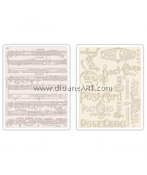 Sizzix Texture Fades Embossing Folders 2PK - Postcard & Sheet Music Set