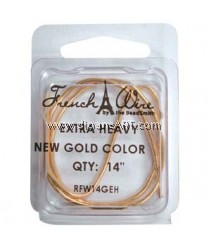 French Wire, New gold Colour, Extra Heavy (1.8MM) - 14inch. Sold per pack of 14 inch