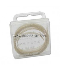 the Beadsmith, Tubular Metallic Wire Ribbon, Light Gold, 6mm, 1 meter/card
