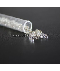 Miyuki Beads, R.R - 4, Silver+transparent, Size 8/0, Sold by per pack/10g