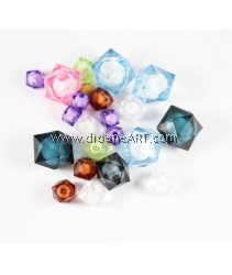 Acrylic Beads, faceted, cube, mixed colour & size. Pack/ 50gm