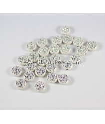 Acrylic Beads, Metal Enlaced, Flat Round, White, 15x7mm, hole: 2.5mm, pack/50 gm