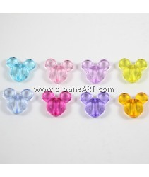 Acrylic Beads, Faceted Mickey Face, Mixed Colour, 34x37x13mm, hole: 3mm. 3 pcs/pack