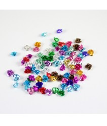 Aluminium Beads, Rose, Mixed Color, about 6mm wide, 4.5mm high, hole: 1mm, Sold per pack of 10 gram