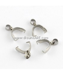 Ice Pick & Pinch Bails, Stainless Steel Color Size: pinch bail about 12x9x4mm, hole: 3mm, 5/pack