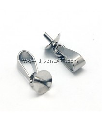 Pendant Bails, Stainless Steels, 12.5x5mm, Pin:1mm, Sold per pack of 5 pcs