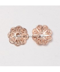 Bead Cap, 8 Petal Flower, Rose Gold, Nicker & Lead Free unfading Alloy, 13x3mm, Hole:2mm, 5/pack