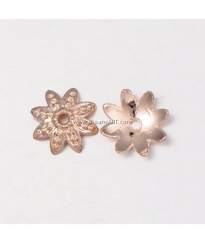 Bead Cap, 8 Petal, Rose Gold, Nicker & Lead Free unfading Alloy, 14x4mm, Hole:2mm, 5/pack