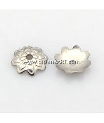 Bead Cap, 8 Petal, Stainless Steel, 7x1.5mm, Hole:1mm, 20/pack