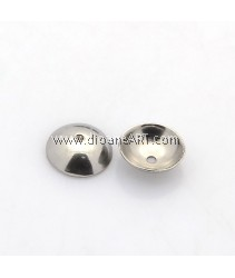 Bead Cap, Apetalous Half Round, Stainless Steel, 6x2mm, Hole:0.5mm, 20/pack