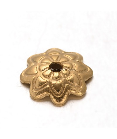 Bead Cap, Flower,Gold colour, Stainless Steel, 7.5x1.5mm, Hole:1mm, 10/pack