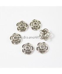 Flower Bead Cap, 10x2.7mm, Hole: 2mm, Antique Silver-Plated. pack/ 10 pcs
