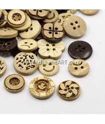 Button, Mixed pattern, Size 5~13mm, 10 pcs/pack