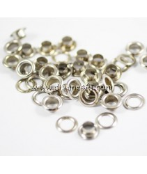 Eyelet with Washer, Silver Colour, 7mm, 25 pcs/pack