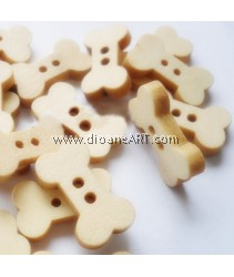 Wooden Button, 2 hole, bone, 18x10mm, 10/pack