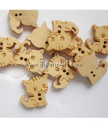 Wooden Button, 2 hole, Cat, 16x15mm, 10/pack