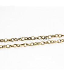 Iron Oval Chain, antique bronze color plated, nickel, lead & cadmium free, 4x5x1.20mm, Sold per pack of 2 meters