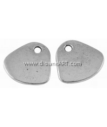 Blank Stamping Tag, Tibetan Style, Fan, Lead, Cadmium Free, Antique Silver Colour, 20x22mm, 6/pack