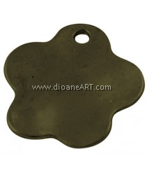 Blank Stamping Tag, Tibetan Style, Flower, Lead, Cadmium Free, Antique Bronze Colour, 23x1.5mm, 10/pack