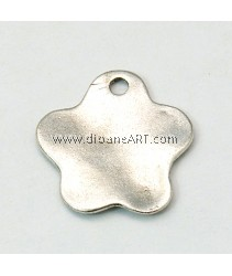 Blank Stamping Tag, Tibetan Style, Flower, Lead, Cadmium Free, Antique Silver Colour, 23x1.5mm, 10/pack