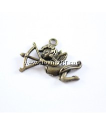 Charm, Angel#6, 28x20mm, Antique Brass-Plated. Sold per pack of 3 pcs