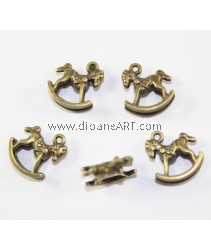 Horse Charms, 25x39mm, Antique Brass-Plated. pack/5 pcs