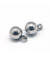 Pendants, Stainless Steel, Round, 7.5x5mm, Hole:1.5mm, Sold per 10 pcs