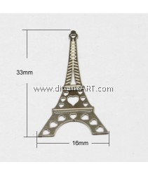 Stainless Steel Pendants, Eiffel Tower, 33x16x0.20mm, Hole: 1mm, 2 pcs/pack