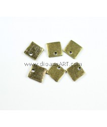 Tibetan Style Alloy Blank Stamping Tag, Antique Bronze, 9x9x1mm, Hole 2mm. Sold by per 30 pcs