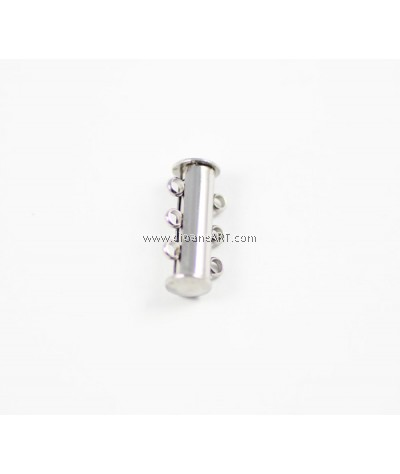 3-Strands Slide Lock Clasps, Stainless Steel, 20x10mm, hole 2mm, Sold per pcs