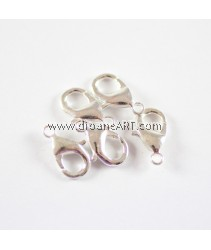 Brass Lobster Clasps, Silver color, 15x9x3mm, hole: 2mm. pack/10 pcs