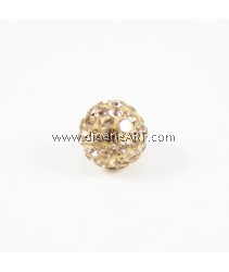Chinese Crystal Pave, Beige,10mm,  Sold per pack of 2 pcs
