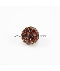 Chinese Crystal Pave, Brown, 10mm Sold per pack of 2