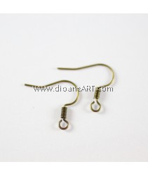 Brass Earring Hooks, Nickel Free, Antique Bronze, about 14.5mm, hole: 1.5mm, pack/40 pcs