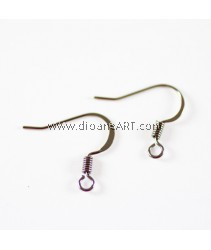 Brass Earring Hooks, Nickel Free, Black, about 17mm, hole: 2mm, 40 pcs/pack