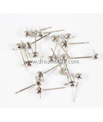 Brass Earring Post, Platinum color plated, Nickel, Lead & Cadnium Free, 4x6.50mm, pack/25 pairs