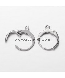 Stainless Steel (304) , Earring Hoop, Stainless Steel Colour, 14.5x12x2mm, Hole: 1mm, Sold per pack of 3 Sets