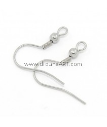 Stainless Steel (304) , Earring Hoop, Stainless Steel Colour, 20.5x20x3mm, Hole: 2.5x2mm, Pin: 0.8mm, 6 sets/pack