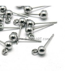 Stainless Steel (304) , Earring Post, 15x6x4mm, Pin: 0.4mm, Hole: 1mm, Sold per pack of 5 Sets