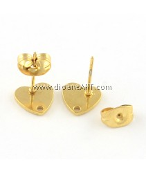 Stainless Steel (304) , Earstud, Heart, Gold Colour, 8x8mm, Hole: 1mm, Pin: 0.8mm, 2 sets/pack