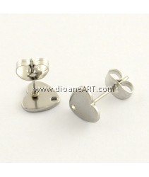 Stainless Steel (304) , Earstud, Heart, Stainless Steel Colour, 8x8mm, Hole: 1mm, Pin: 0.8mm, 3 sets/pack