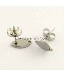 Stainless Steel (304) , Earstud, Horse Eye, Stainless Steel Colour, 10x5.5mm, Hole: 1mm, Pin: 0.8mm, 3 sets/pack