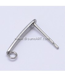 Stainless Steel (304) , Earstud, Long, Stainless Steel Colour, 15x3mm, Hole: 2mm, Pin: 0.7mm, 3 sets/pack