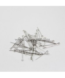 Eyepins, Stainless Steel, Original Color, 0.6x26mm, 1.5x2mm, 50g/pack