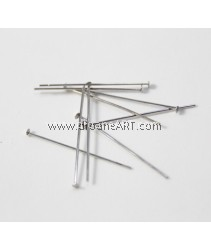 Headpins, Bright Silver plated, 0.6x30mm, 10g/pack
