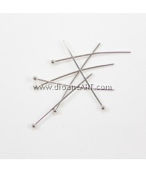 Headpins, Bright Silver plated, 0.6x30mm, ball 2mm, 10 g/pack